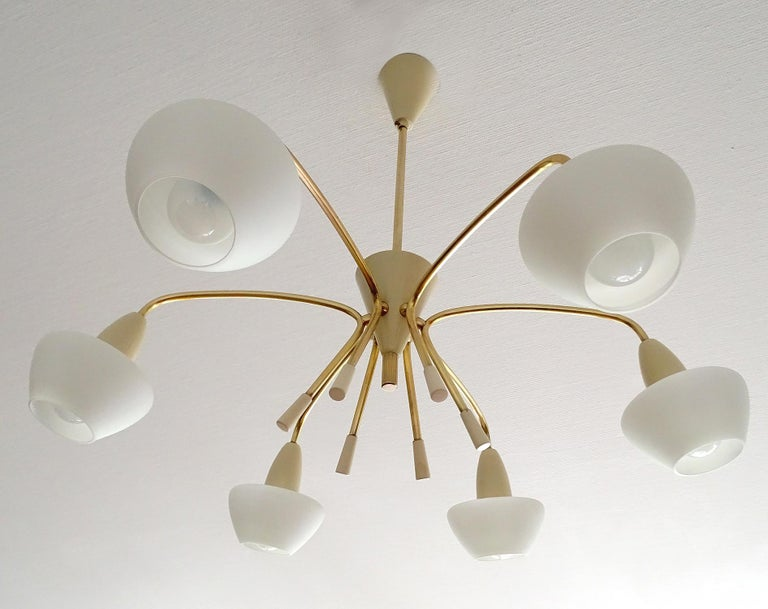 Large Sputnik Glass Brass Chandelier Pendant Light, Stilnovo Gio Ponti Era  In Good Condition For Sale In Bremen, DE