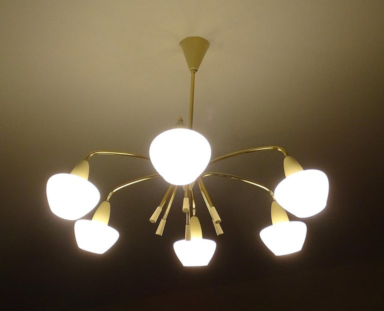 Mid-20th Century Large Sputnik Glass Brass Chandelier Pendant Light, Stilnovo Gio Ponti Era  For Sale