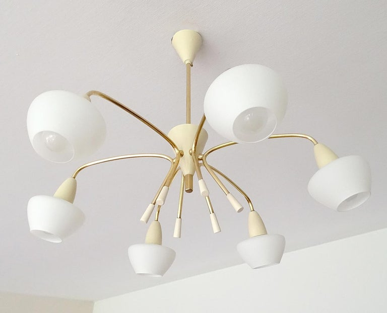 Large Sputnik Glass Brass Chandelier Pendant Light, Stilnovo Gio Ponti Era  For Sale 1