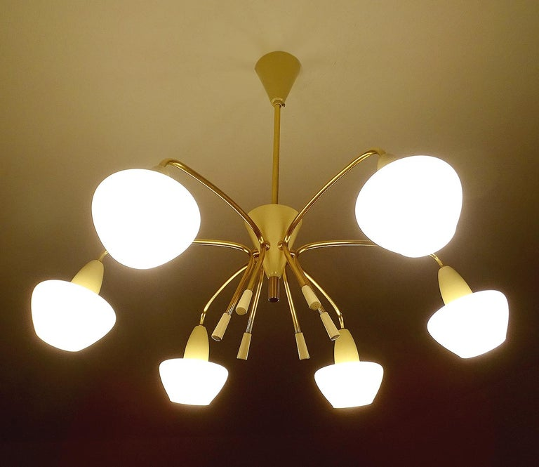 Large Sputnik Glass Brass Chandelier Pendant Light, Stilnovo Gio Ponti Era  For Sale 2