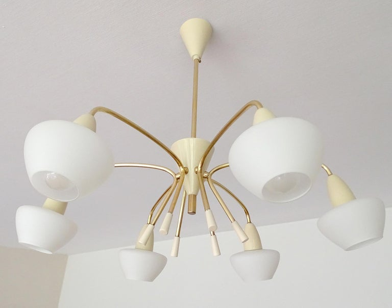 Large Italian Sputnik Glass Brass Chandelier Pendant, Stilnovo Gio Ponti Era  For Sale 4