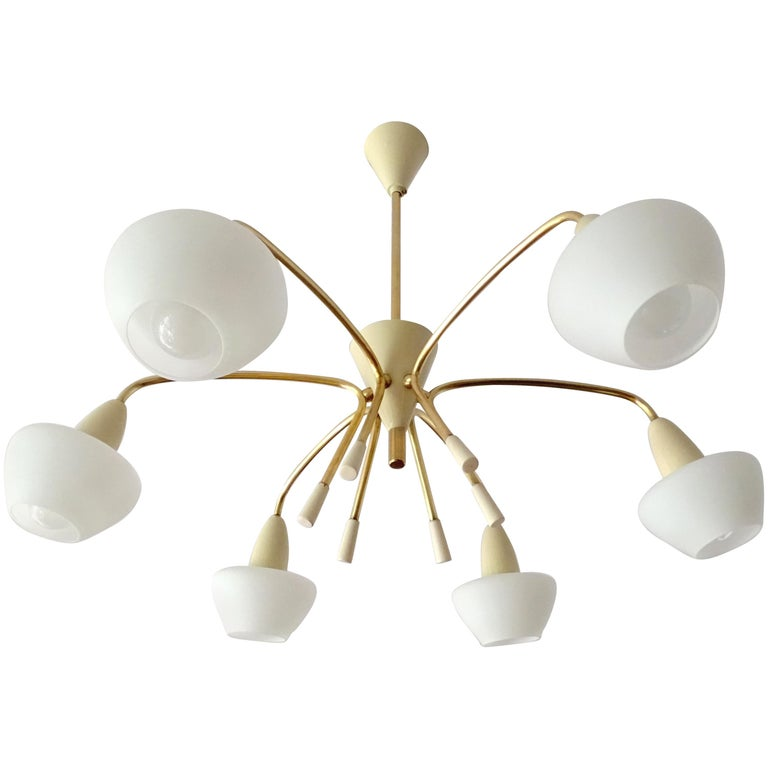 Large Sputnik Glass Brass Chandelier Pendant Light, Stilnovo Gio Ponti Era  For Sale