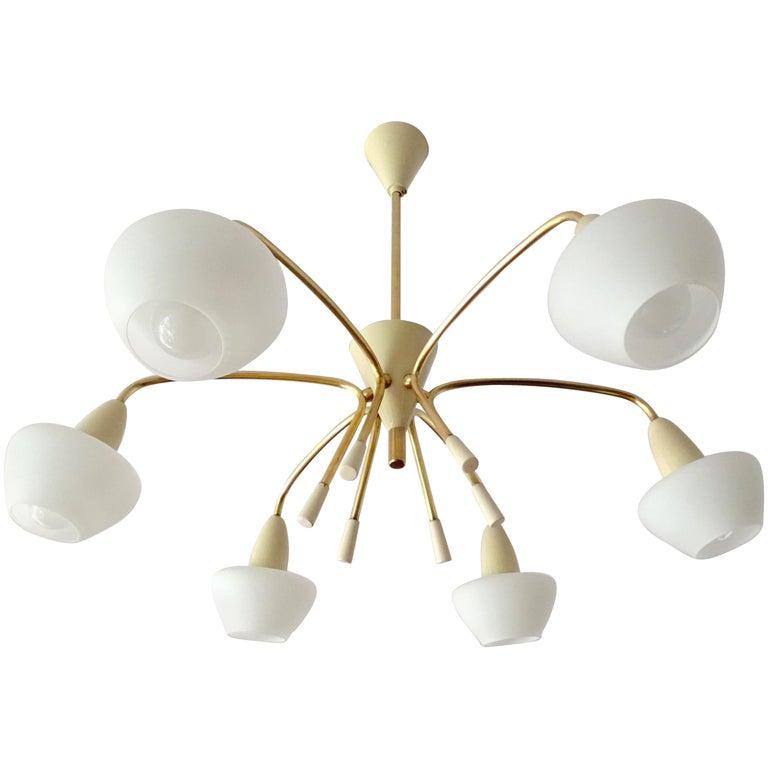 Large Italian Sputnik Glass Brass Chandelier Pendant, Stilnovo Gio Ponti Era  For Sale