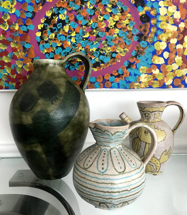 Large Italian Stoneware Pitcher by Guido Gambone For Sale 4
