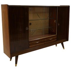 Large Italian Storage Cabinet / Sideboard, Striped Mahogany, Sliding Glass Doors