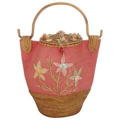 Large Italian Straw & Bamboo Novelty Basket Handbag, 1950's