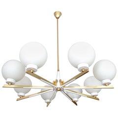 Large Italian Sunburst Glass Brass Chandelier Pendant, Stilnovo Gio Ponti Era