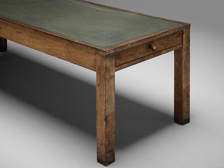 Art Deco Large Italian Table in Oak with Brass For Sale