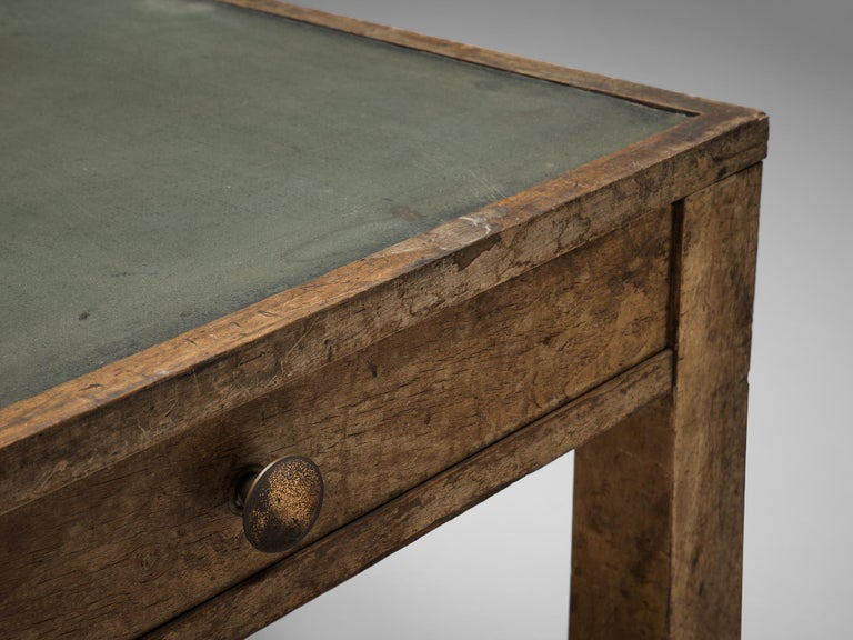 Mid-20th Century Large Italian Table in Oak with Brass For Sale