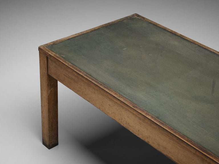 Large Italian Table in Oak with Brass For Sale 1