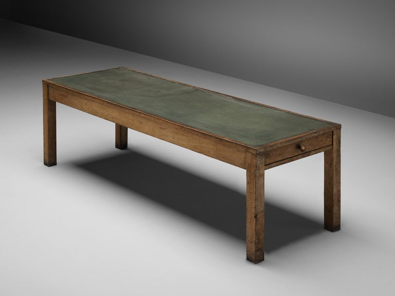 Large Italian Table in Oak with Brass For Sale 3