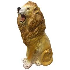 Large Italian Terra Cotta Roaring Lion
