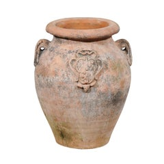 Large Italian Terracotta Olive Jar Jardinière Planter with Family Heraldic Crest