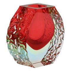 Vintage Italian Textured and Faceted Red Murano 'Sommerso' Glass Vase