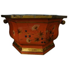 Large Italian Tole Painted and Gilt Decorated Jardiniere or Cachepot