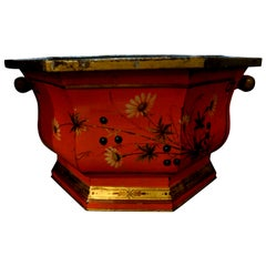 Large Italian Tole Painted and Gilt Decorated Jardinière or Cachepot