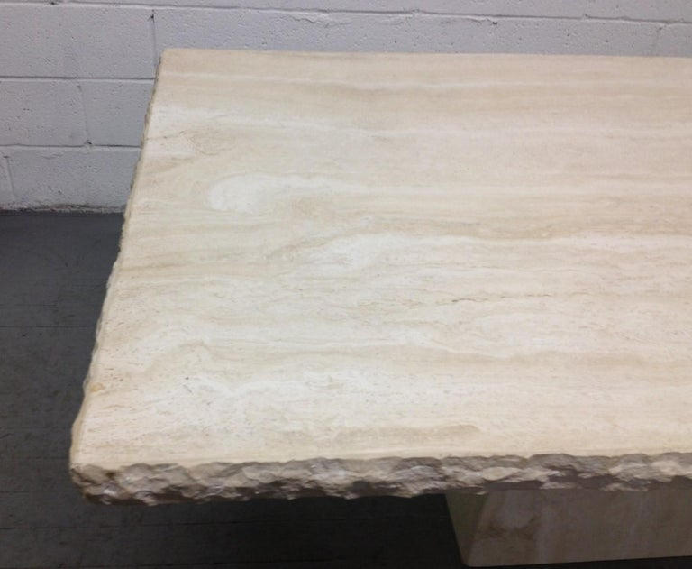 Large Italian Travertine Table In Good Condition For Sale In New York, NY