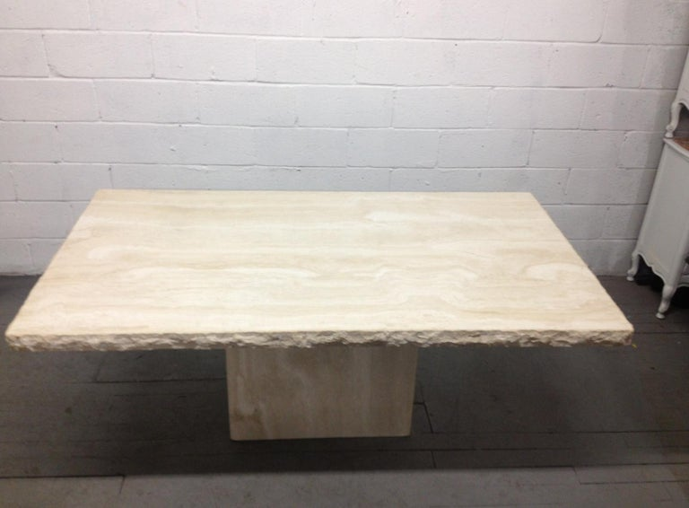 Late 20th Century Large Italian Travertine Table For Sale