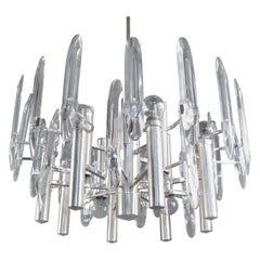Large Italian Twelve Light Chrome and Glass Chandelier by Sciolari