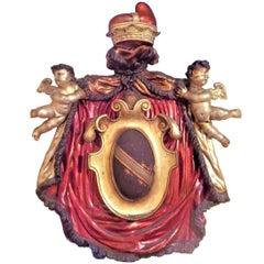 Large Italian Venetian Overdoor Armorial Crest or Coat of Arms