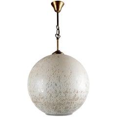 Large Italian Venini Style Glass Globe Pendant Lamp, 1950s