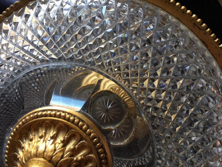 Hand-Crafted Large Italian Vintage Cut Glass and Gold Covered Centerpiece Dish For Sale