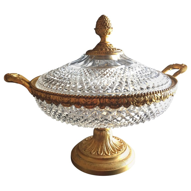Large Italian Vintage Cut Glass and Gold Covered Centerpiece Dish For Sale