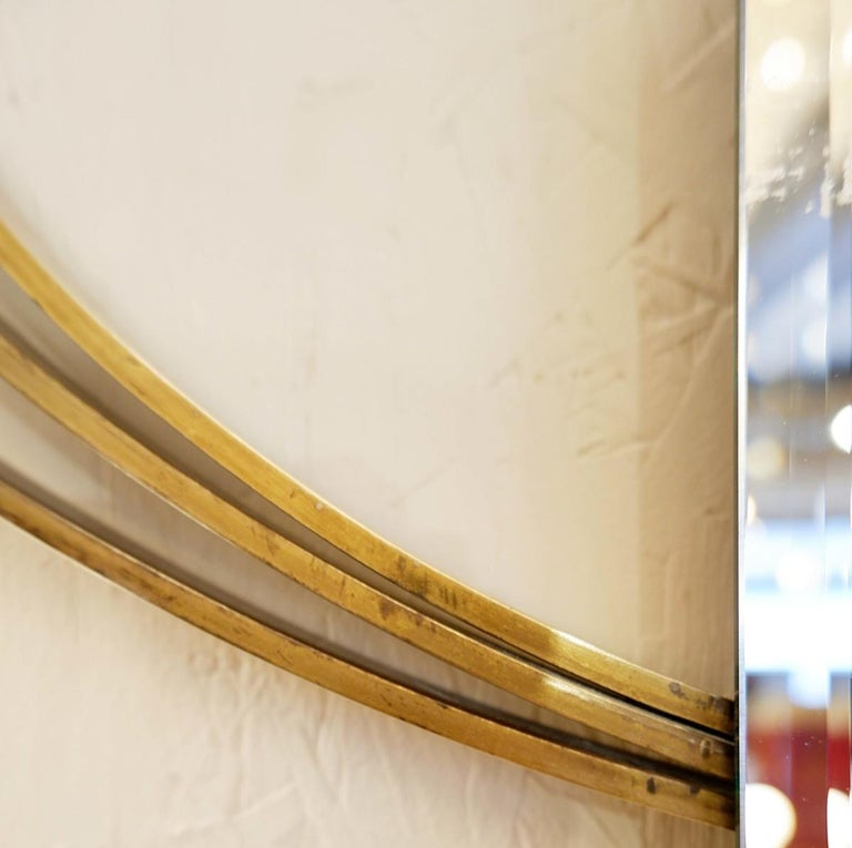 Brass Large Italian Wall Mirror by Luciano Frigerio, 1960s, 2 Available For Sale