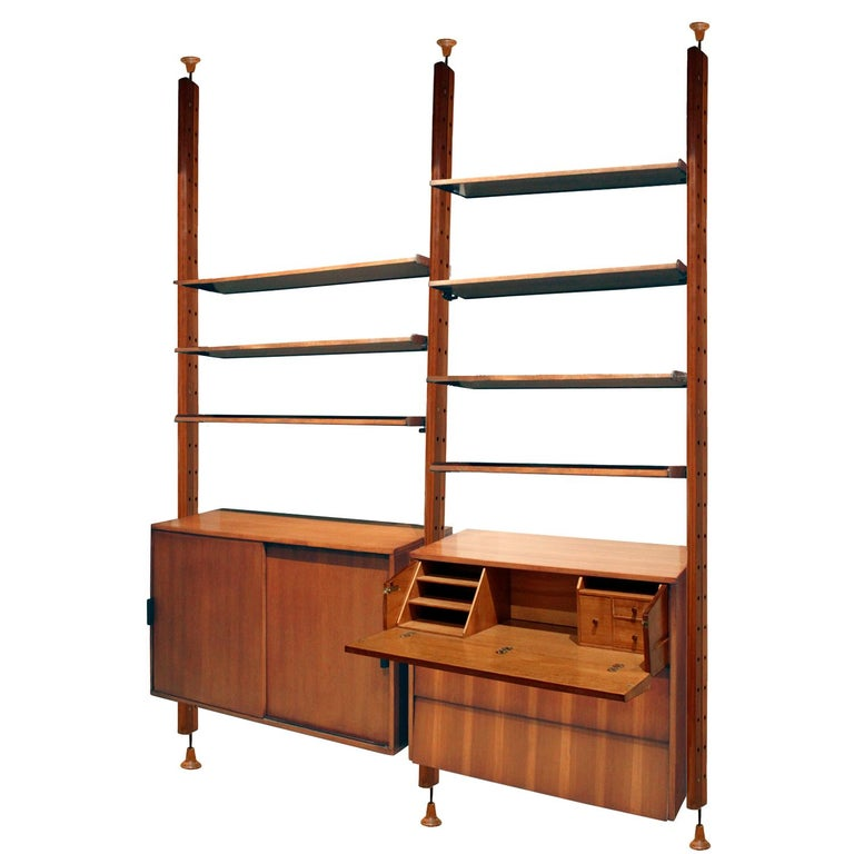 Mid-Century Modern Large Italian Wall Unit in Rosewood, Teak and Mahogany, 1964 For Sale