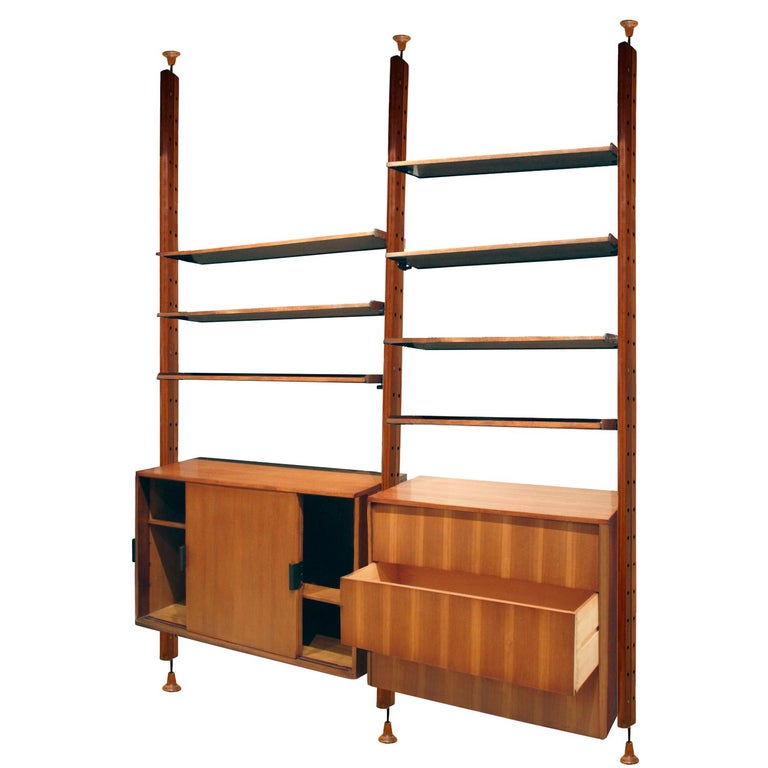 Hand-Crafted Large Italian Wall Unit in Rosewood, Teak and Mahogany, 1964 For Sale