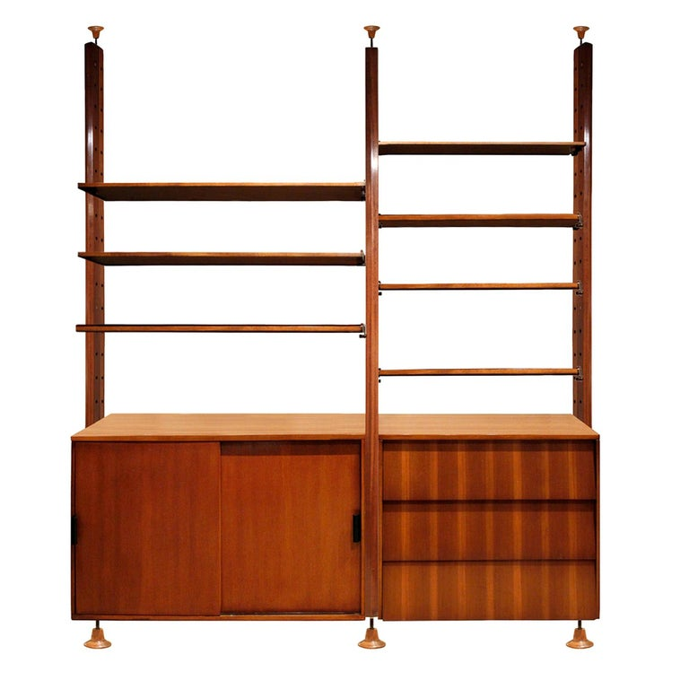 Large Italian Wall Unit in Rosewood, Teak and Mahogany, 1964 For Sale