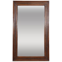 Large Italian Walnut and Fruitwood Marquetry Mirror