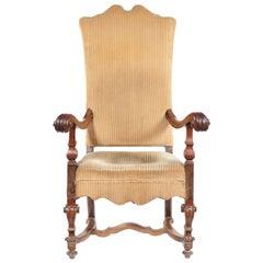 Large Italian Walnut Open Armchair, 17th Century