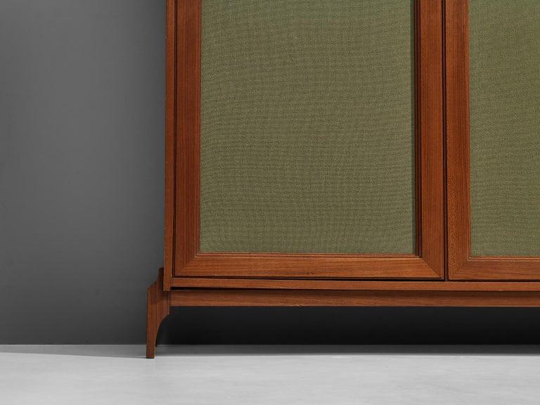 Large Italian Wardrobe in Teak and Green Fabric For Sale 6