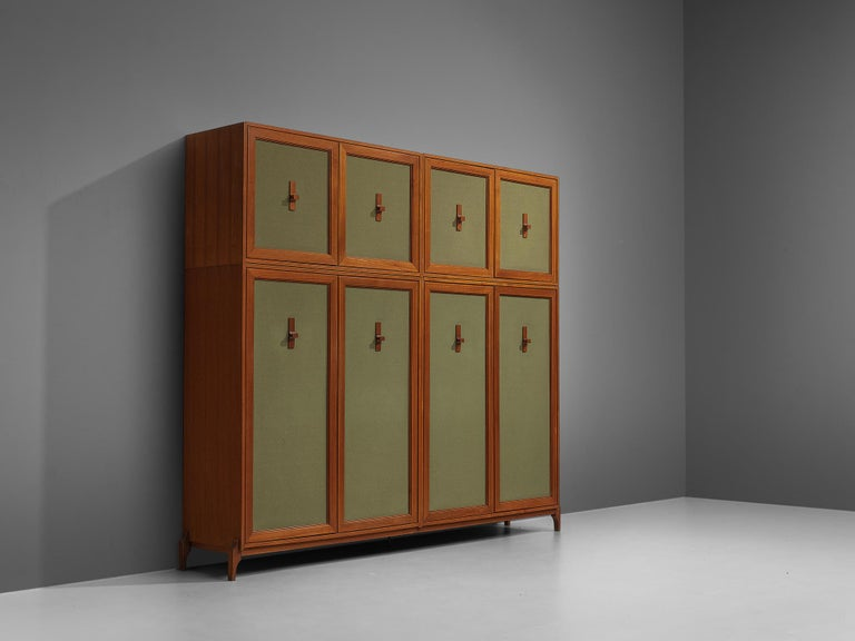 Large Italian Wardrobe in Teak and Green Fabric In Good Condition For Sale In Waalwijk, NL