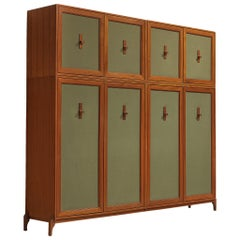 Large Italian Wardrobe in Teak and Green Fabric