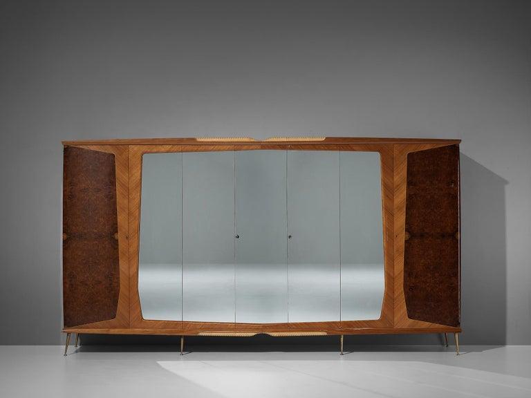 Mid-Century Modern Large Italian Wardrobe in Walnut Burl and Mahogany For Sale