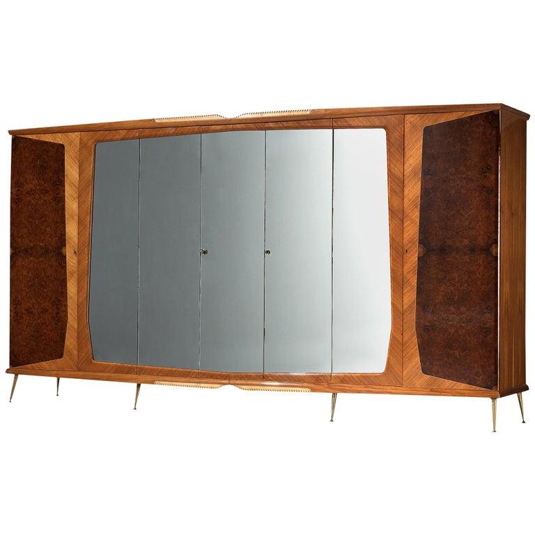 Large Italian Wardrobe in Walnut Burl and Mahogany For Sale