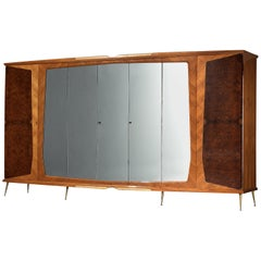 Large Italian Wardrobe in Walnut Burl and Mahogany