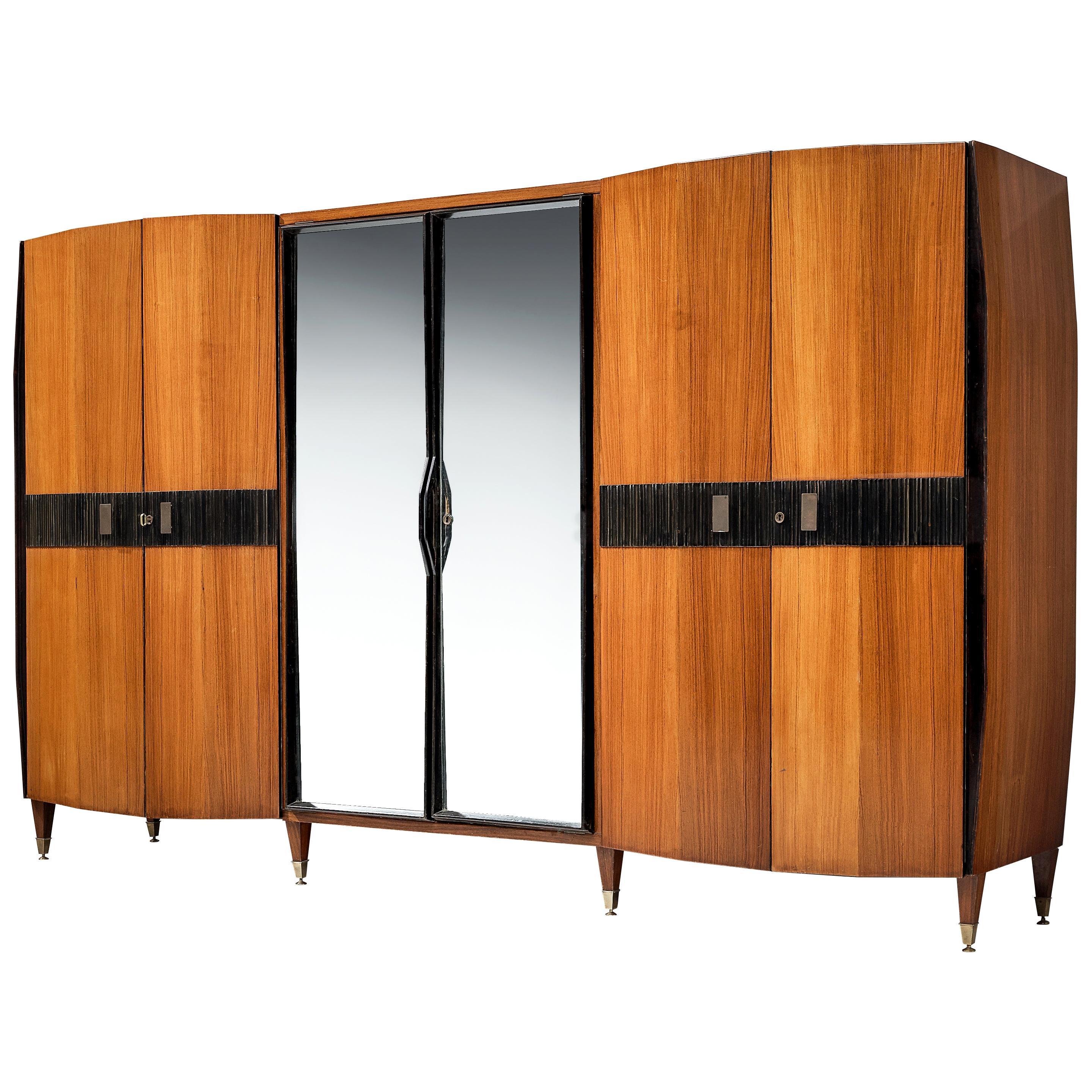 Large Italian Wardrobe in Walnut with Mirrored Doors