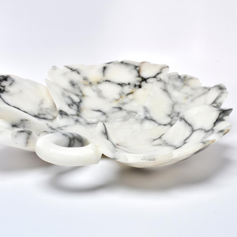 Large Italian White and Gray Alabaster Leaf Form Platter or Bowl For Sale 3