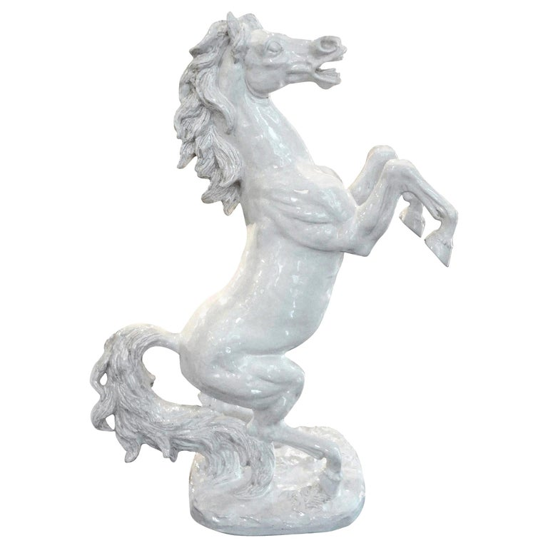 Large Italian White Glazed Terracotta Horse Sculpture For Sale