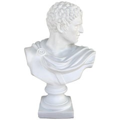 Large Italian White Lacquered Terracotta Bust of Apollo