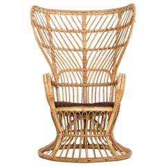 Large Italian Wicker Armchair with High Backrest, 1950s