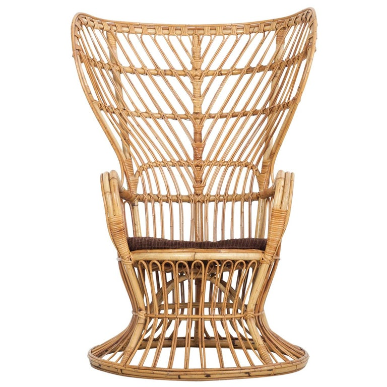 Large Italian Wicker Armchair with High Backrest, 1950s For Sale