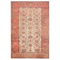 Large Ivory Antique Persian Sultanabad Rug. Size: 12 ft x 17 ft 10 in