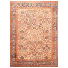 Large Ivory background Antique Persian Sultanabad Rug. 13 ft 4 in  x 18 ft 9 in