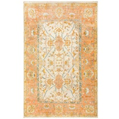 Large Ivory Background Antique Turkish Oushak Rug. Size: 9 ft 6 in x 15 ft 3 in