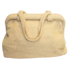 Large Ivory Colour Beaded Handbag