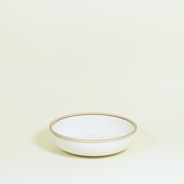 Molded Large Ivory Glazed Porcelain Hermit Bowl with Rustic Rim For Sale